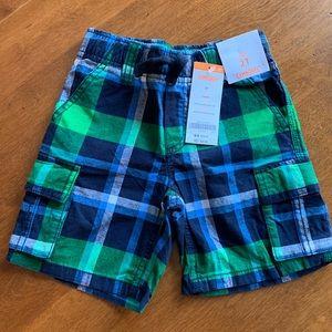 NWT Gymboree Boys Plaid Cargo Shorts Size 2T